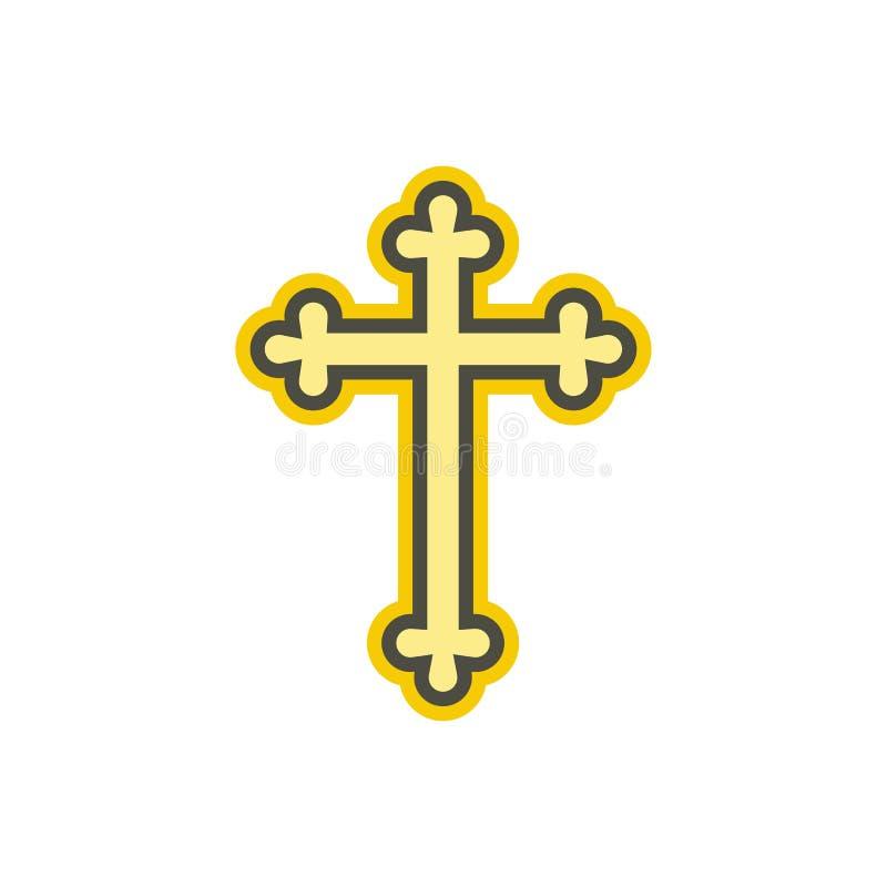 Ícone liso transversal cristão ilustração royalty free