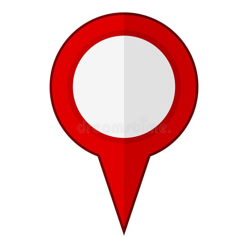 Ícone liso vazio vermelho de GPS isolado no branco ilustração stock