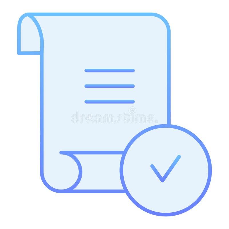 Ícone liso verificado do relatório Documento com ícones azuis do tiquetaque no estilo liso na moda Folha com estilo do inclinação ilustração do vetor