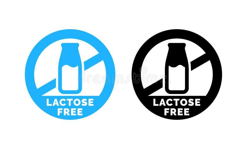 Ícone livre do alimento do vetor do logotipo da lactose ilustração stock