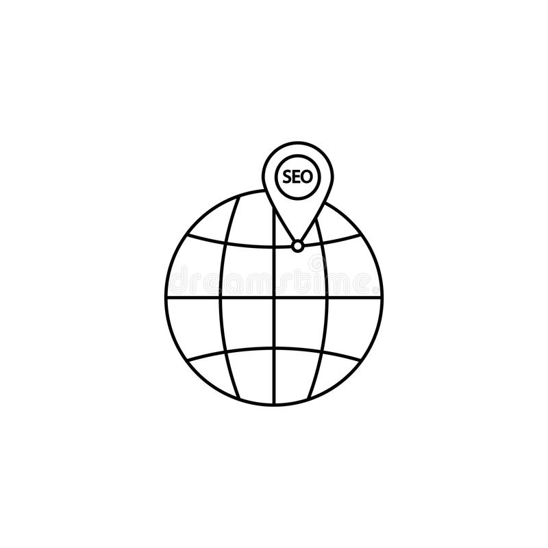 Ícone local do seo, globo com símbolo do pino ilustração do vetor