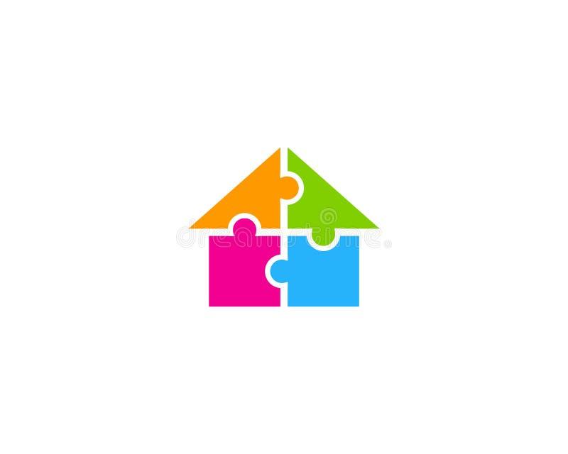 Ícone Logo Design Element da casa da casa do enigma ilustração stock