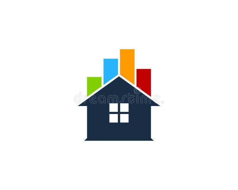 Ícone Logo Design Element da casa da casa do relatório do Stats ilustração stock