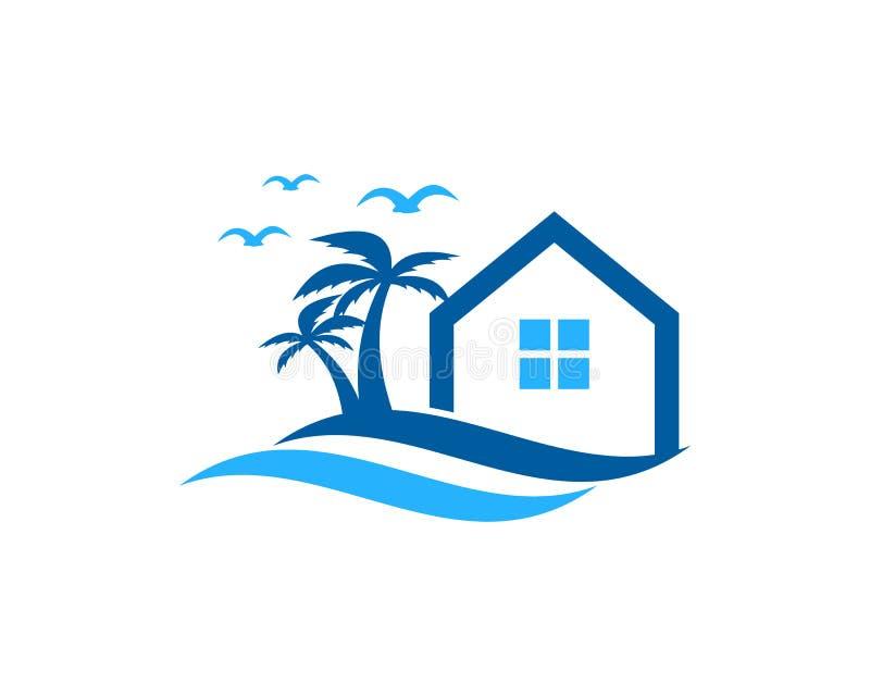 Ícone Logo Design Element da onda da casa da casa ilustração do vetor