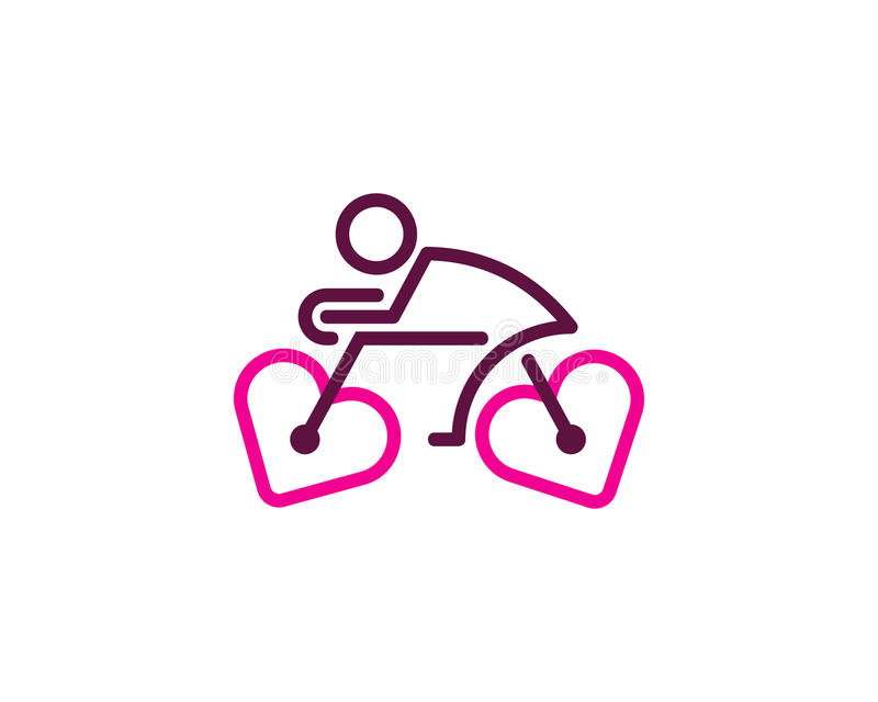 Ícone Logo Design Element do ciclo da bicicleta do amor ilustração do vetor