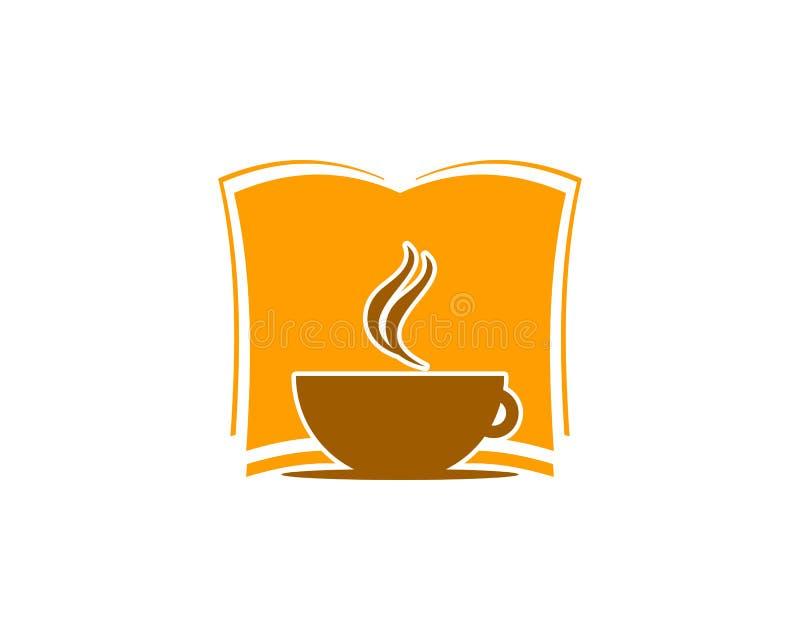 Ícone Logo Design Element do livro do café ilustração royalty free