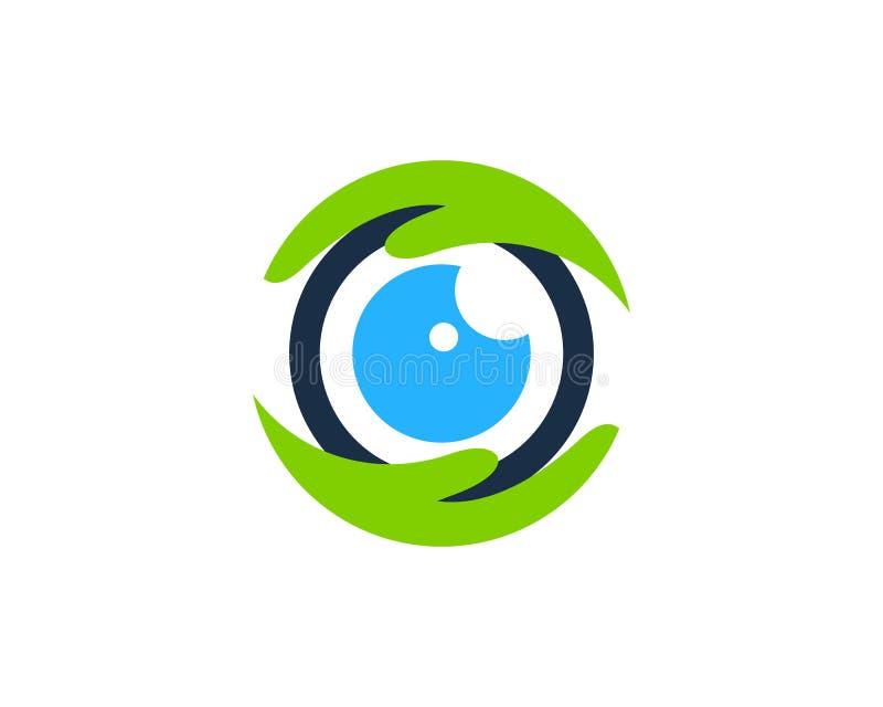 Ícone Logo Design Element do olho do cuidado ilustração stock