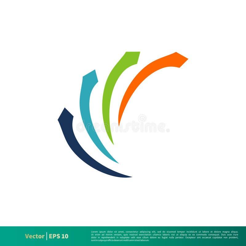 Ícone Logo Template Illustration Design do vetor da seta da letra de C Vetor EPS 10 ilustração do vetor
