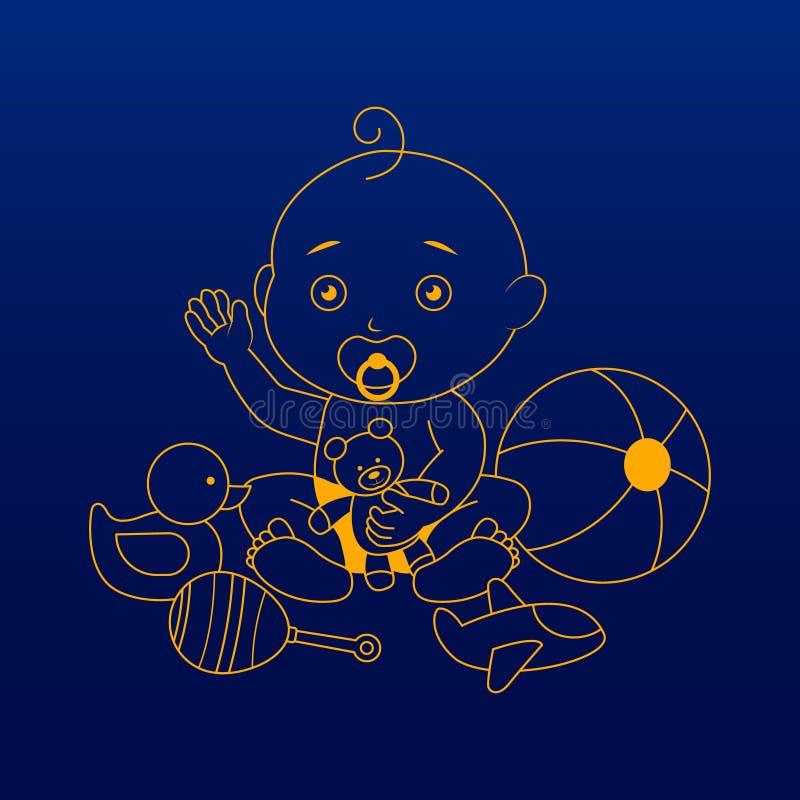 Ícone/logotipo da menina da criança Ilustração da arte ilustração do vetor