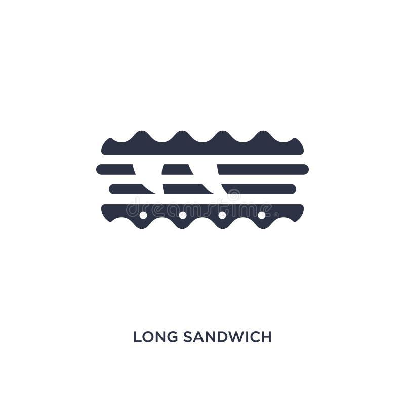ícone longo do sanduíche no fundo branco Ilustração simples do elemento do conceito dos restaurantes e do restaurante ilustração royalty free
