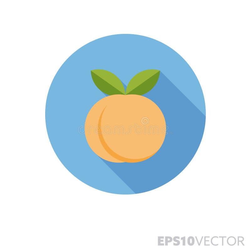 Ícone longo do vetor da cor da sombra do projeto liso do fruto do pêssego ou do abricó ilustração stock