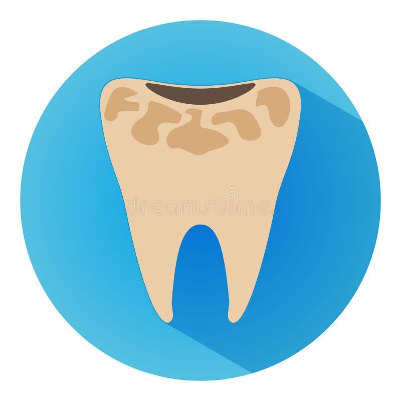 Ícone longo do vetor da sombra da cárie do dente O estilo é uma cárie lisa do dente no fundo azul ilustração do vetor