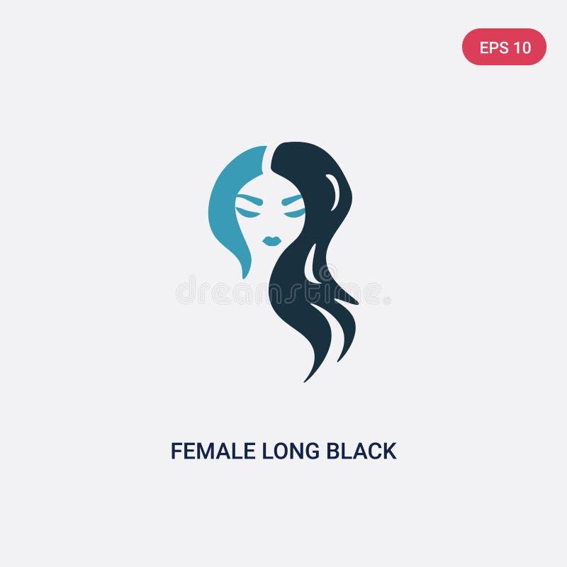 Ícone longo fêmea de duas cores do vetor do cabelo preto do conceito das formas o símbolo longo fêmea azul isolado do sinal do ve ilustração do vetor
