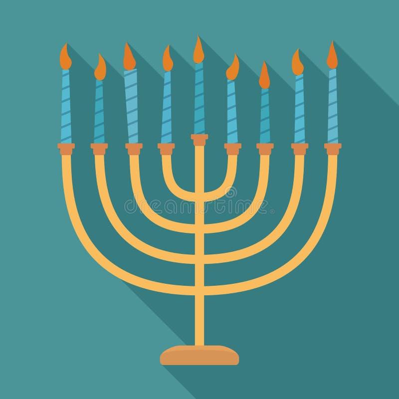 Ícone longo liso do projeto da sombra de Menora do feriado do Hanukkah ilustração do vetor