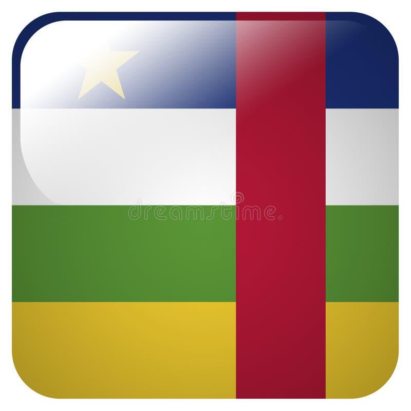 Ícone lustroso com a bandeira da república central de África ilustração do vetor