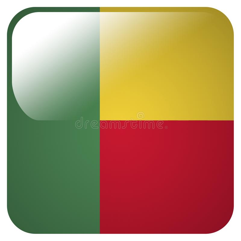 Ícone lustroso com a bandeira de Benin ilustração stock