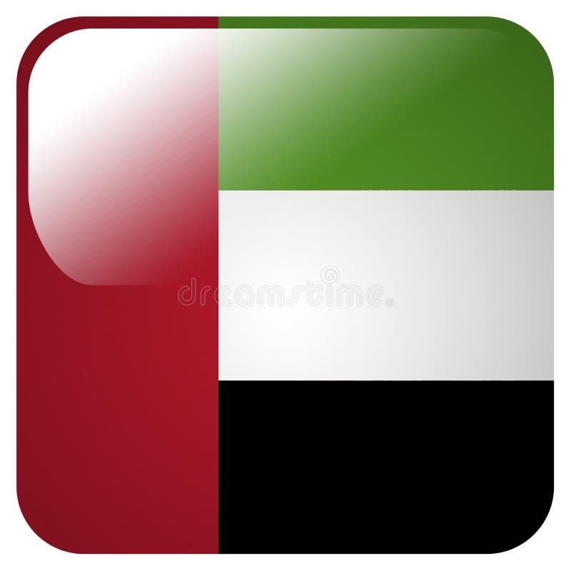 Ícone lustroso com a bandeira de Emiratos Árabes Unidos ilustração stock