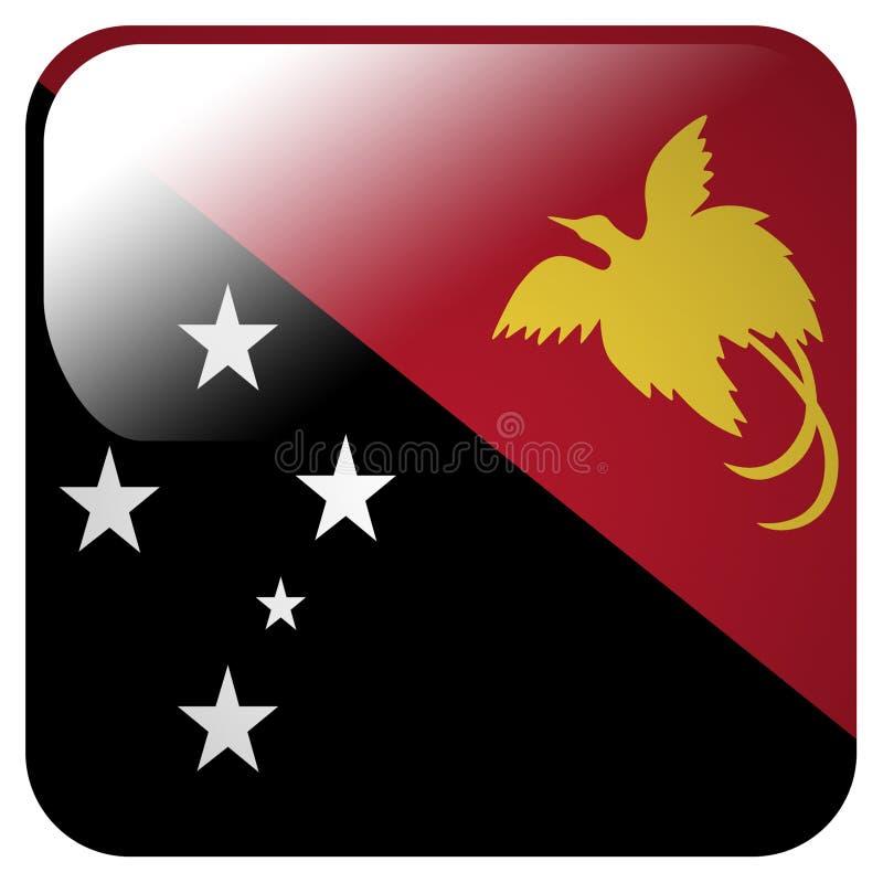 Ícone lustroso com a bandeira de Papuásia-Nova Guiné ilustração royalty free