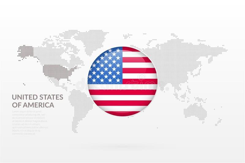 Ícone lustroso da bandeira do Estados Unidos da América Símbolo infographic do mapa do mundo do vetor Molde dos EUA para o negóci ilustração royalty free