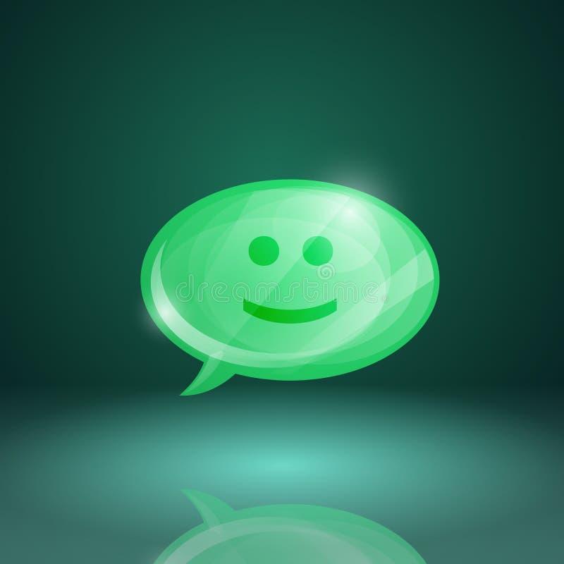 Ícone lustroso da bolha do discurso com sorriso ilustração stock