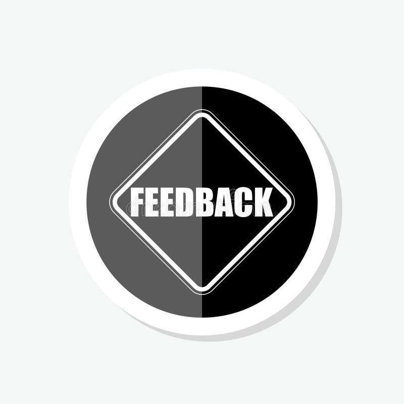 Ícone lustroso da etiqueta da Web do círculo preto do feedback ilustração royalty free