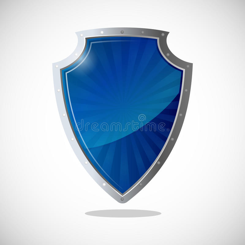 Ícone lustroso da proteção do protetor em cores do azul e da prata ilustração stock