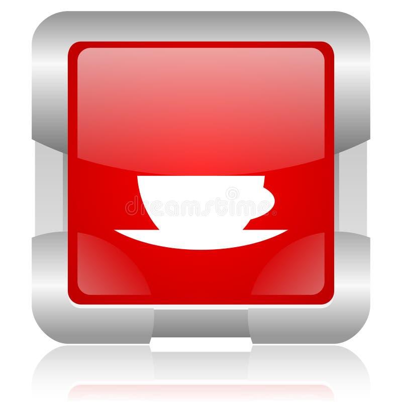 ícone lustroso da Web do quadrado vermelho de copo de café foto de stock royalty free