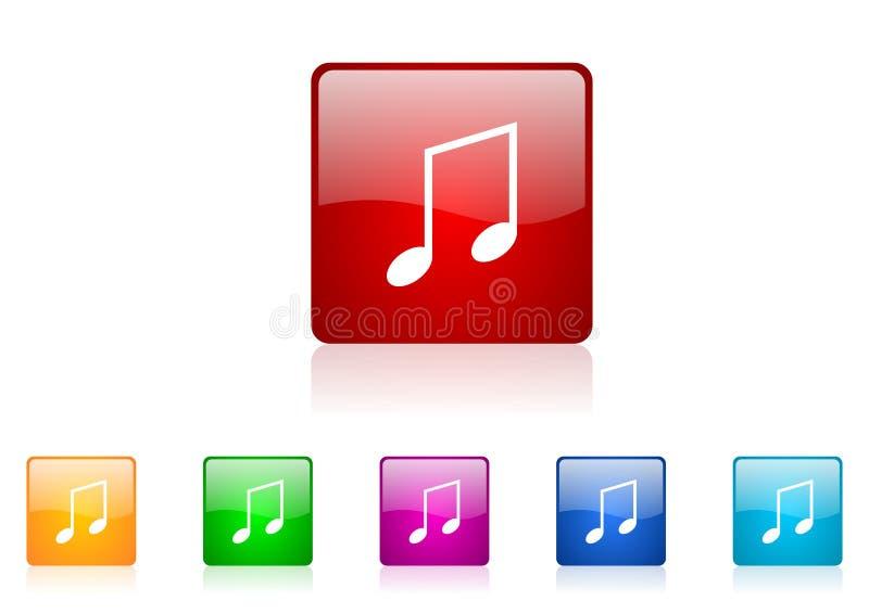 Ícone lustroso da Web quadrada da música ilustração do vetor
