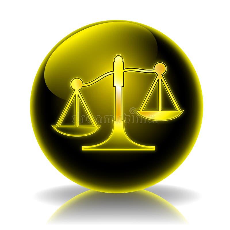 Ícone lustroso de justiça ilustração do vetor