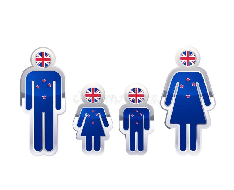 Ícone lustroso do crachá do metal em formas do homem, da mulher e das crianças com bandeira de Nova Zelândia, elemento infographi ilustração stock