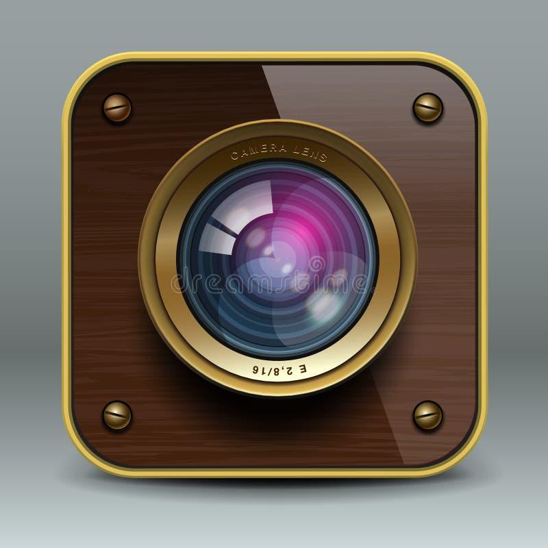 Ícone luxuoso de madeira da câmera da foto ilustração stock