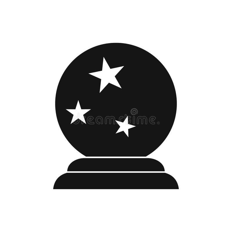 Ícone mágico da bola, estilo simples ilustração stock