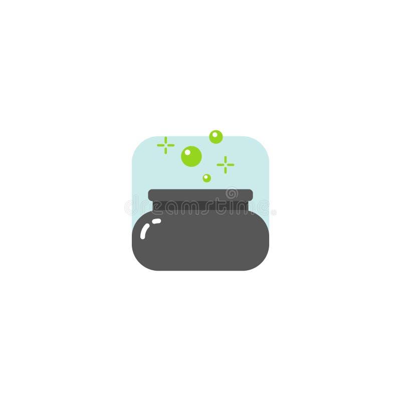 Ícone mágico da caldeira dos desenhos animados lisos simples do quadrado da arte do vetor ilustração stock