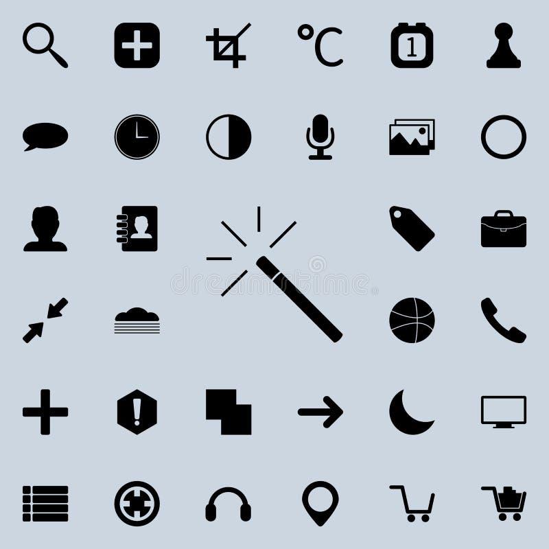 Ícone mágico da varinha Grupo detalhado de ícones minimalistic Projeto gráfico superior Um dos ícones da coleção para Web site, d ilustração do vetor