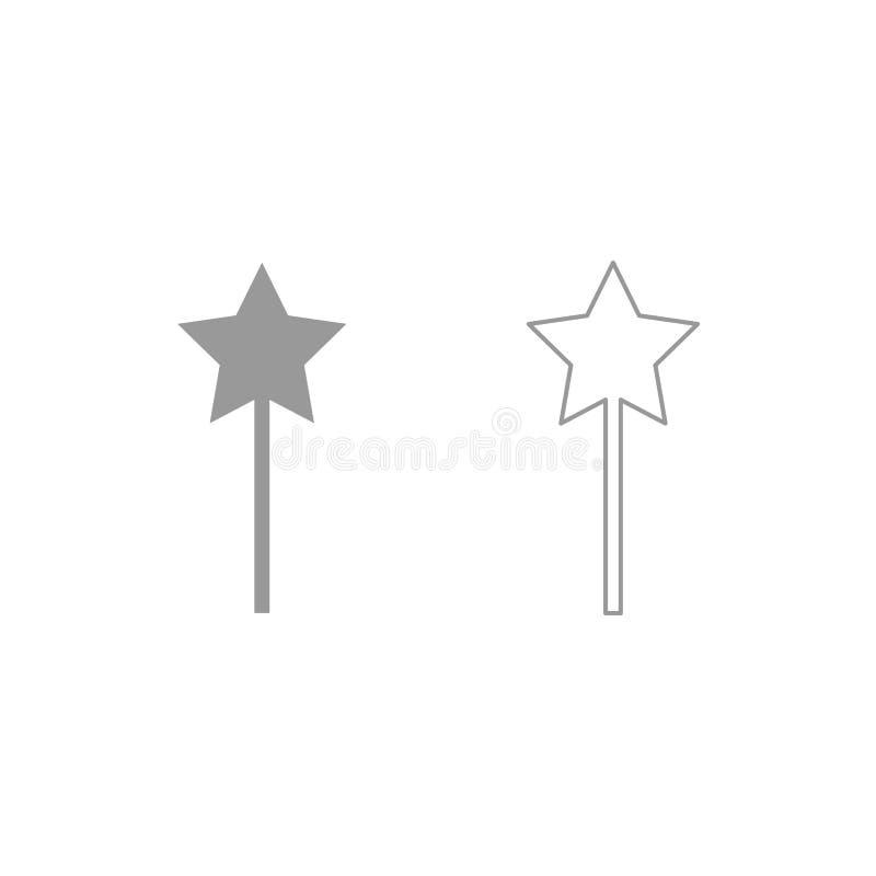 Ícone mágico da varinha Grupo do cinza ilustração do vetor