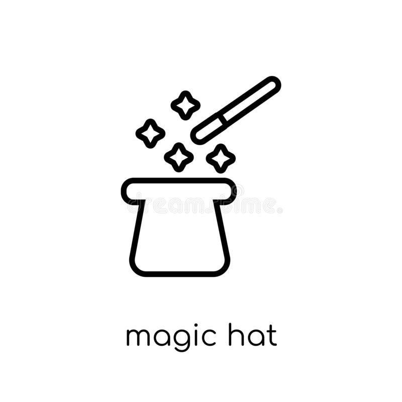 Ícone mágico do chapéu da coleção do circo ilustração royalty free