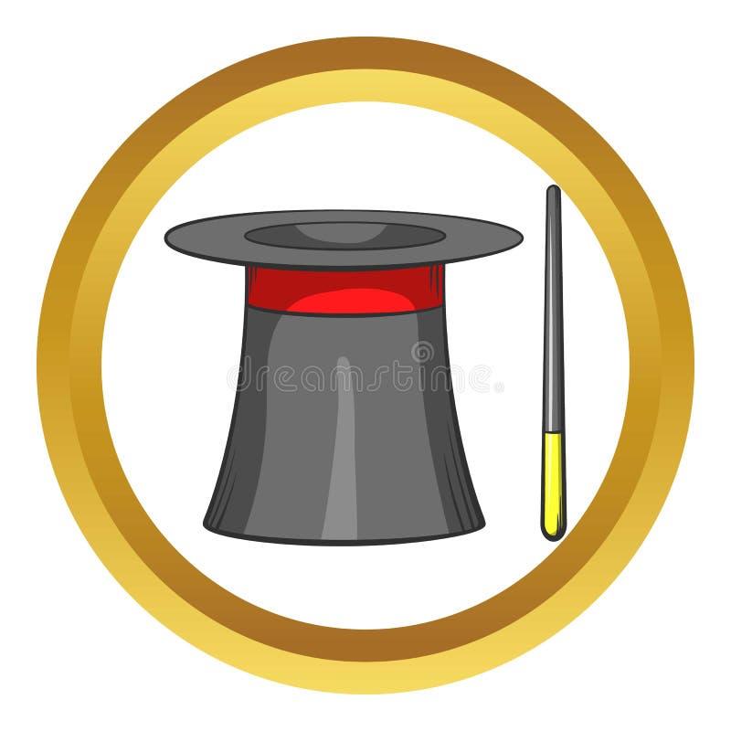 Ícone mágico do chapéu e da varinha, estilo dos desenhos animados ilustração stock