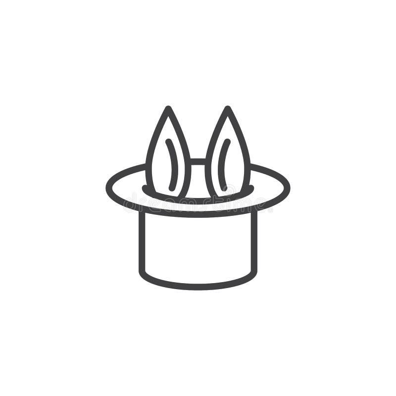 Ícone mágico do esboço do tampão e do coelho da mágica ilustração do vetor