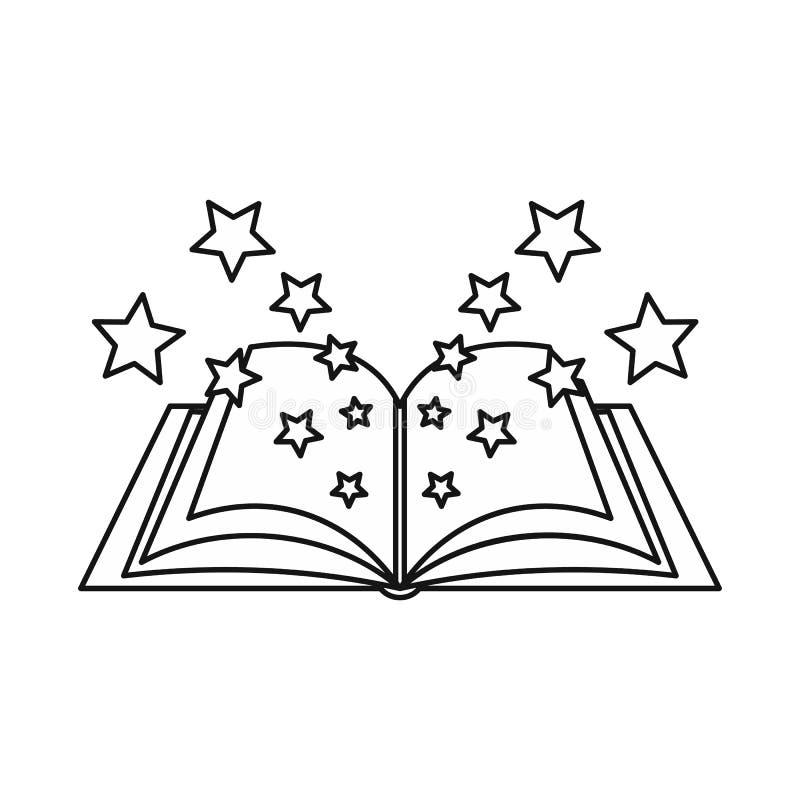 Ícone mágico do livro, estilo do esboço ilustração do vetor