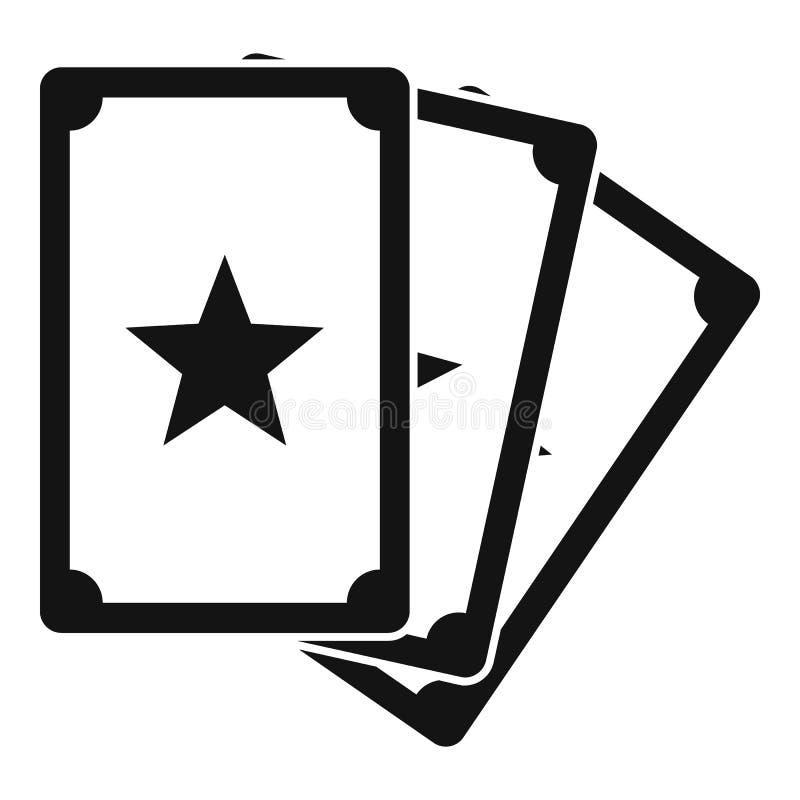 Ícone mágico dos cartões da fortuna, estilo simples ilustração stock