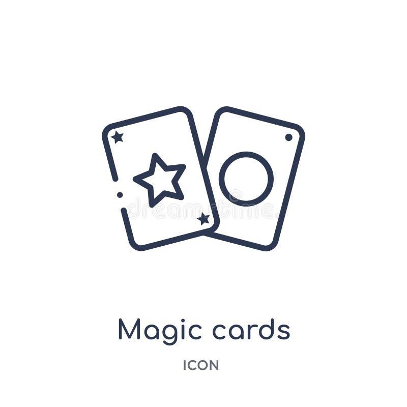 Ícone mágico linear dos cartões do entretenimento e da coleção do esboço da arcada Linha fina vetor mágico dos cartões isolado no ilustração stock