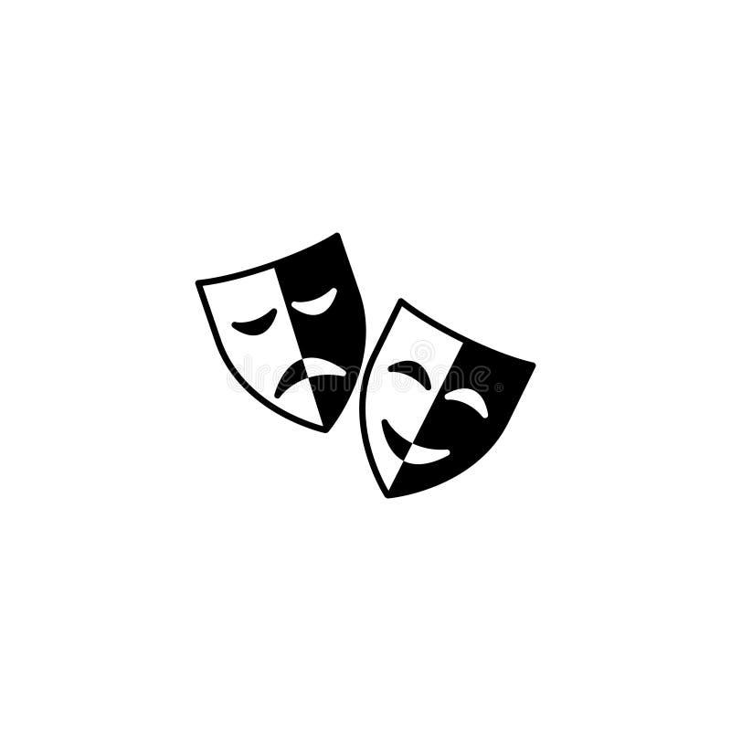 ícone Máscaras, comédia e tragédia do teatro ilustração royalty free