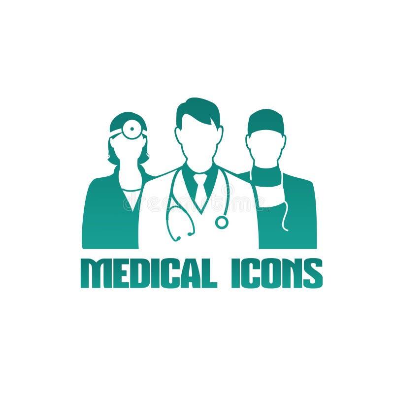 Ícone médico com doutores diferentes ilustração stock
