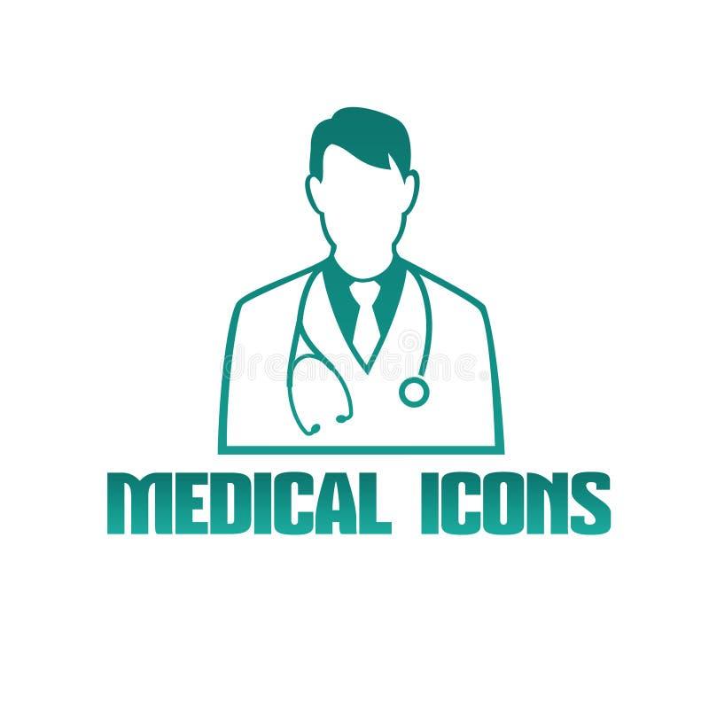 Ícone médico com terapeuta do doutor ilustração do vetor