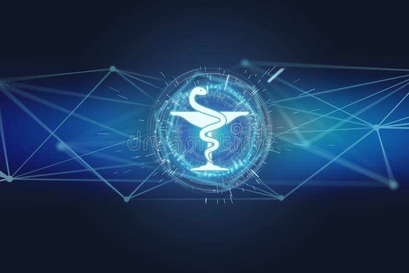 Ícone médico da farmácia em uma relação futurista ilustração royalty free