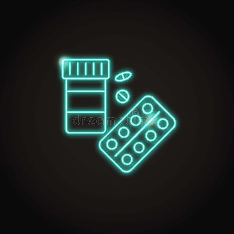 Ícone médico da garrafa de comprimidos no estilo de néon de incandescência ilustração royalty free