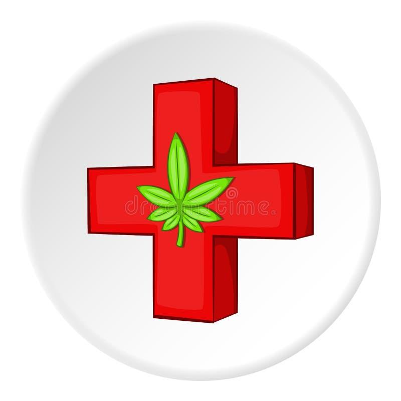 Ícone médico da marijuana, estilo dos desenhos animados ilustração stock