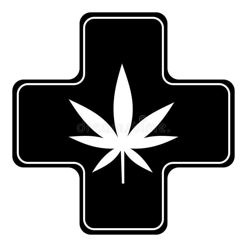 Ícone médico da marijuana, estilo simples ilustração stock