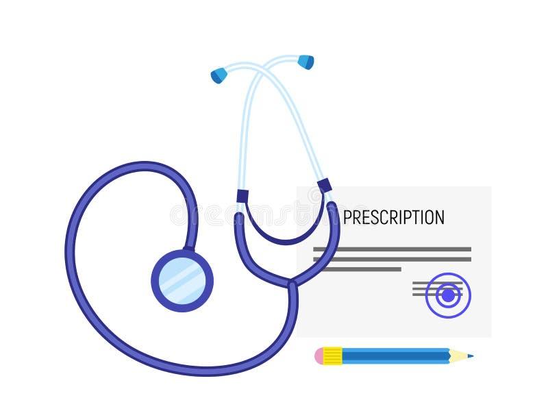 Ícone médico da prescrição do estetoscópio, estilo liso ilustração do vetor
