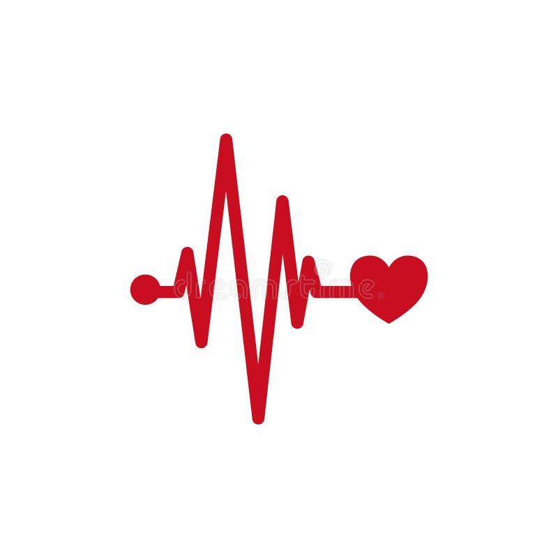 Ícone médico da pulsação do coração do conceito Projeto do logotipo de Ecg com ponto do coração e do pulso ilustração royalty free